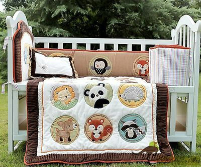 Baby Boys 5 Pieces Animal Zoo Cotton Nursery Bedding Crib Cot Sets