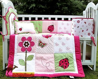 Baby Girls 5 Pieces Hot Pink Ladybug Cotton Nursery Bedding Crib Cot Sets