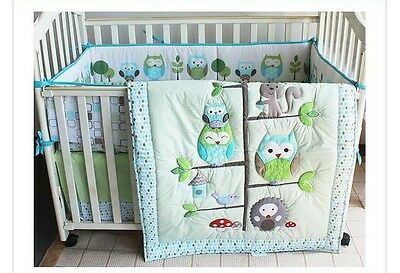 New 7 Pieces Adorable Owl design Baby Boy Crib Cot Bedding Quilt Set