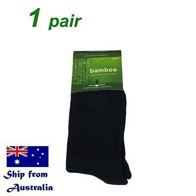 1 pair BAMBOO socks men mens women hiking work outdoor thick black sz 6-10