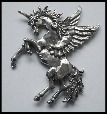 PEWTER CHARM #1412 UNICORN (63mm x 60mm) no bail or hole