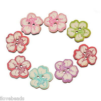 30x 25mm Mixed Craft Wood Buttons 2 Holes Peach Flower Sewing Scrapbooking DIY