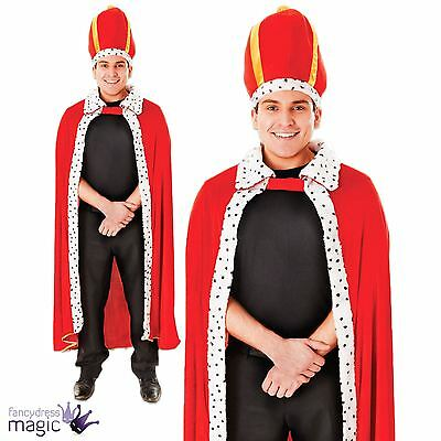 Adult Mens Classic Royal Kings Red Robe and Crown Fancy Dress Costume Book Week