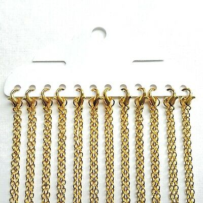 Gold Plated Plain Necklace Lobster Clasp Trace Chains, Choose Length Quantity UK