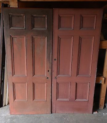 2 Early Matching Antique 1830s Wood 6 Panel Entry Doors Old Greek Revival 654-16