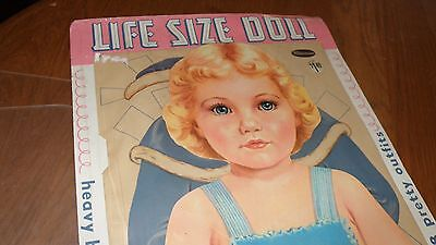 "RARE WHITMAN 1959 NIP LIFE SIZED BLONDE ORIGINAL PAPER DOLL 37"" T w 8 OUTFITS"