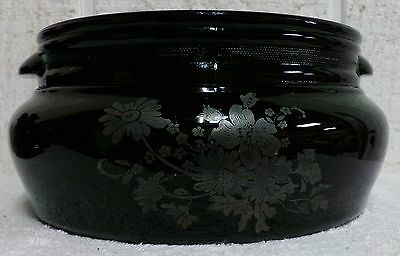 Black Amethyst Sterling Overlay Flowers Large 2 QT Tab Handle Bowl Smith Glass