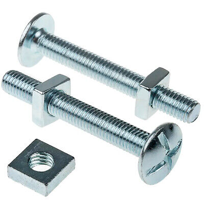 Trade Price Zinc Roofing Bolts & Square Nuts - M6 M8 M10 Long Lengths Full Boxes