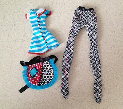 NEW Monster High Doll Frankie Stein Home Ick Tights Top Apron Clothes Outfit Lot