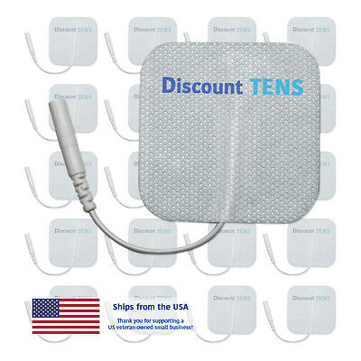 """TENS 2""""x2"""" Premium Wired Electrode Pads, 20 Pads (10 Pair)"""