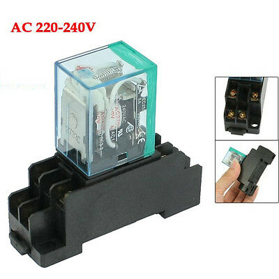 220/240V AC Coil DPDT Power Relay MY2NJ 8 Pin w Socket Base HY