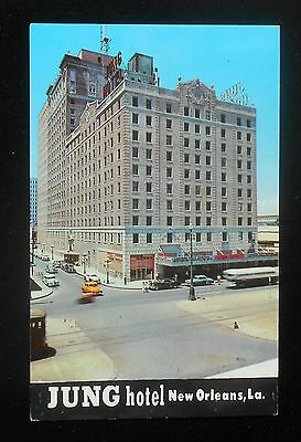 1950s Jung Hotel Old Cars Taxi Bus Trolley New Orleans LA Orleans Co Postcard