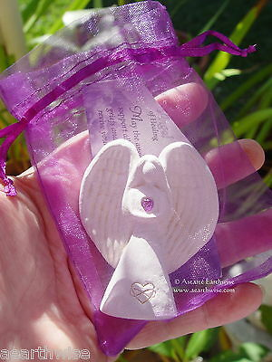 PURPLE HEALING CARVED FIGURINE With POUCH & CARD Wicca Witch Pagan Reiki