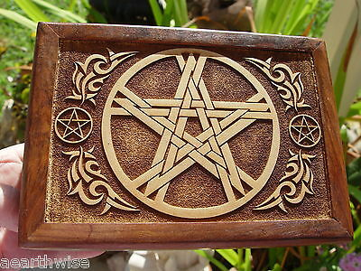 PENTACLE WOODEN BOX - LASER ETCHED - TAROT BOX Wicca Witch Pagan Goth PENTAGRAM