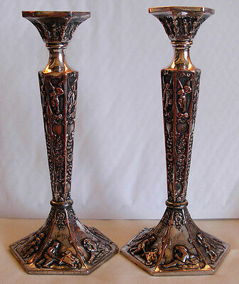 """Pair Of Antique Silvrtplated  Candle Sticks By """"cross """" London W/ Cherub / Angel"""