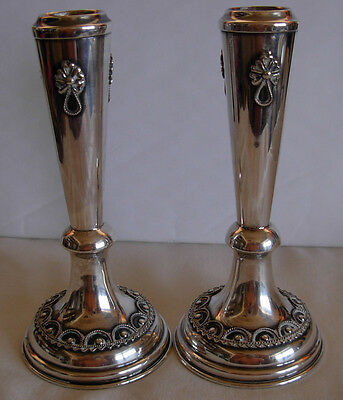 "Pair Of Vintage Sterling  Silver Filigree Work Candle Sticks By ""matadin"" Israel"