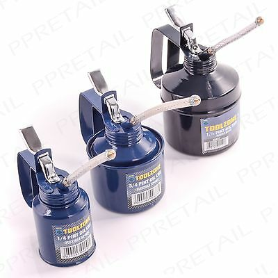 SMALL-LARGE METAL OIL CAN + SPOUT Garage Workshop Mechanic Lubricant Bike/Cycle