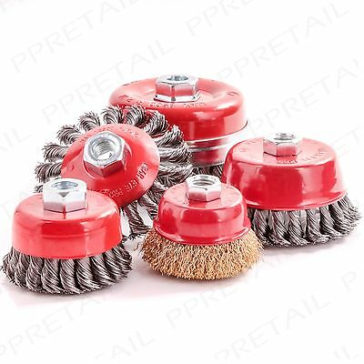 HEAVY DUTY WIRE CUP BRUSH RANGE Rust & Paint Removal Deburring Rotary Wheel Tool
