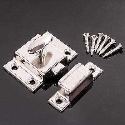 NICKEL CUPBOARD TURN CATCH Silver Desk/Cabinet Door Twist Sprung Latch + Screws