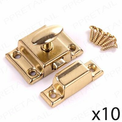 10 x CUPBOARD TURN LATCH DOOR LOCK Brass Desk/Cabinet/Chest Drawers Twist Catch