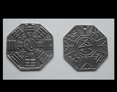 PEWTER CHARM #1440 YIN YANG CHINESE OCTAGON COIN (28mm x 28mm) 1 HOLE