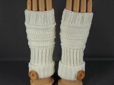 Cream fingerless gloves texting open thumb button knit arm warmer warmers