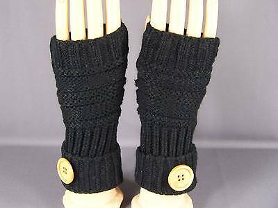 Black fingerless gloves texting open thumb button knit arm warmer warmers