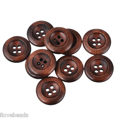 50x 20mm 4-hole Brown Wooden Buttons Craft Scrapbooking & Sewing DIY