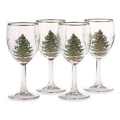 Spode Christmas Tree Wine Glasses (Set of 4) NEW IN THE BOX