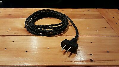 8' Black Twisted Cloth Covered Wire & Plug, Vintage Light Rewire Kit, Lamp Cord