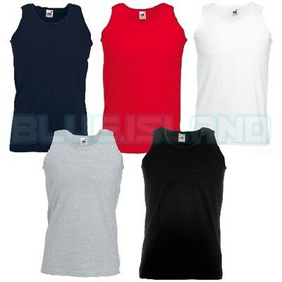 Plain Fruit Of The Loom Vest Athletic Blank Tank Top Gym Training Summer Cotton