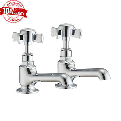 Wash Basin Taps Pair with Traditional Cross Head Handles Solid Brass Chrome