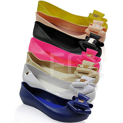 5b88dcdad923 Ladies Womens Peep Toe Pumps Ballerina Jelly Bow Dolly Summer Shoes Size  Wedge