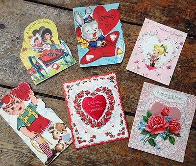 Vintage Valentines Day greeting cards child wife used 1950's scrapbook craft