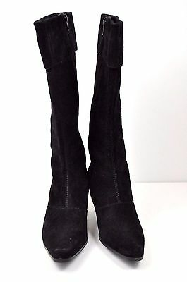 Tall Suede Boots 7.5 M Black Leather Worthington Zip Knee High Heel Shoes