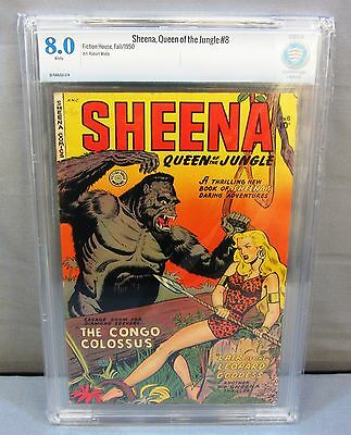SHEENA, QUEEN OF THE JUNGLE #8 (Golden Age) CBCS 8.0 VF Fiction House 1950 cgc
