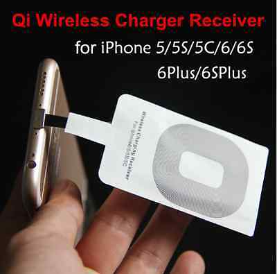 Qi Wireless Charging Receiver Adapter Card Charger Mat For iPhone 6 6S 7 5S SE