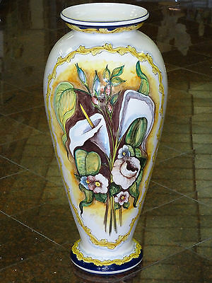"Gigantic 32"" Tall Hand Painted Signed Majolica Faience Vase * Made In Spain"