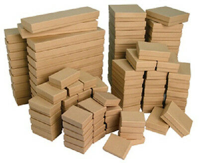 New 100 kraft Cotton Filled Jewelry Gift Boxes ~ assortment or any size