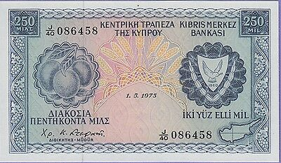 Cyprus 250 Mils Banknote 1.5.1973 Gem Uncirculated Condition Cat#41-B-6458