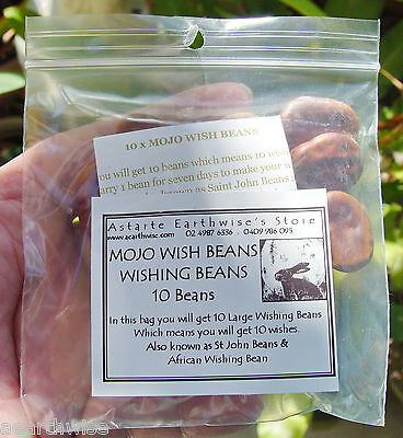 10 x MOJO WISH BEANS WITH INSTRUCTIONS  Wicca Witch Pagan Goth  WISHING BEANS