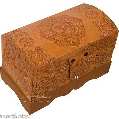 LOTUS OM LEATHER CHEST LINED TAROT BOX Wicca Witch Pagan Goth
