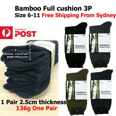 Bamboo Work Socks Anti-bacterial 3 Pairs Full cushion Thick Size6-11 Comfort Fit
