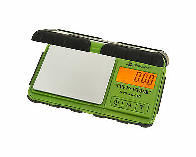 Tuff Weigh Green Scales 100g X 0.01g Rubber Grip Case Detachable Lid TUF-100