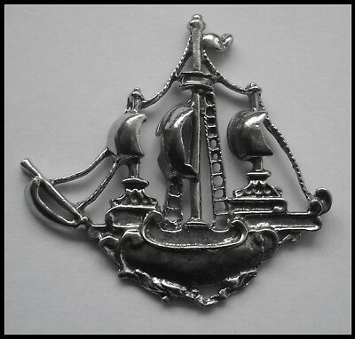 PEWTER CHARM #1483 PIRATE SHIP (55mm x 54mm) no bail
