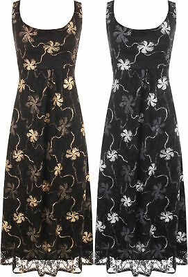 Plus Womens Floral Lace Flared Sleeveless Belted Lined Ladies Party Maxi Dress