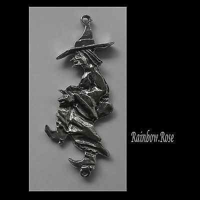 PEWTER CHARM #439 WITCH JOINER (64mm x 27mm) 2 bails DOUBLE SIDED