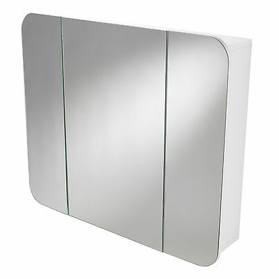 Wentworth | Wall Mounted Triple White Bathroom Mirrored Cabinet / Storage Unit