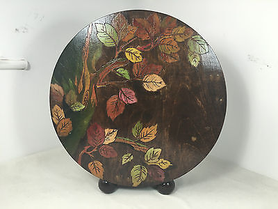 Round Oak Painted Etched floral Magazine Stand Rack European German