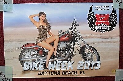 Sexy Girl Beer Poster Miller High Life ~ 2013 Daytona Beach Harley Davidson Bike